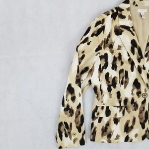 beige brown animal print CHICOS blazer jacket ligh